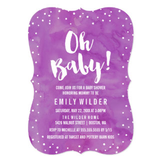 Oh Baby Purple Watercolor Baby Shower Card