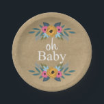 """Oh Baby! Rustic Kraft Floral Wreath Baby Shower Paper Plate<br><div class=""""desc"""">Oh Baby! Rustic Kraft Floral Wreath Baby Shower Paper Plates.</div>"""