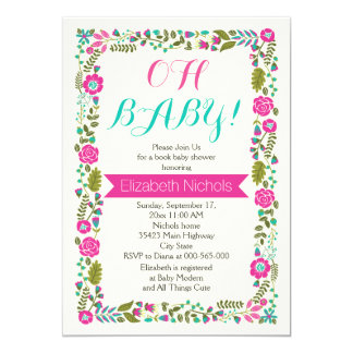 Oh Baby shower aqua and pink floral border Card