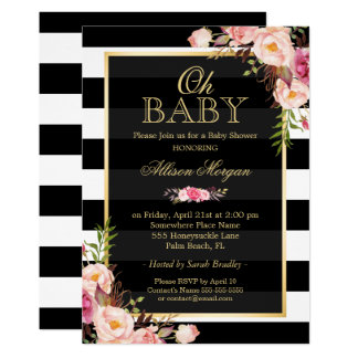 Oh Baby Shower Black Gold Vintage Floral Decor Card