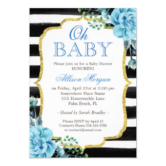 Oh Baby Shower Blue Floral Gold Black Stripes Card