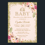 """Oh Baby Shower - Blush Pink Gold Glitters Floral Card<br><div class=""""desc"""">Blush Pink Gold Glitters Floral Baby Shower Invitation. (1) For further customization, please click the &quot;customize further&quot; link and use our design tool to modify this template. (2) If you prefer Thicker papers / Matte Finish, you may consider to choose the Matte Paper Type. (3) If you need help or...</div>"""