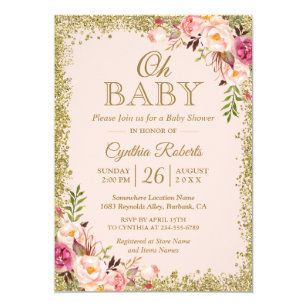Oh Baby Shower   Blush Pink Gold Glitters Floral Card