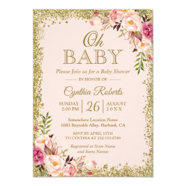 Toddler & Baby themed Oh Baby Shower - Blush Pink Gold Glitters Floral Card