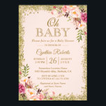 "Oh Baby Shower - Blush Pink Gold Glitters Floral Invitation<br><div class=""desc"">Blush Pink Gold Glitters Floral Baby Shower Invitation. (1) For further customization, please click the &quot;customize further&quot; link and use our design tool to modify this template. (2) If you prefer Thicker papers / Matte Finish, you may consider to choose the Matte Paper Type. (3) If you need help or...</div>"