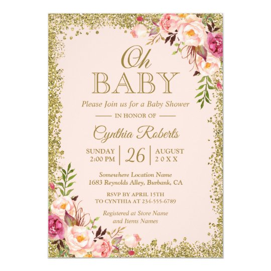 Oh Baby Shower Blush Pink Gold Glitters Floral Invitation Zazzle Com