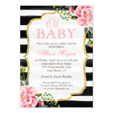 Oh Baby Shower Floral Gold Black White Stripes Card at Zazzle