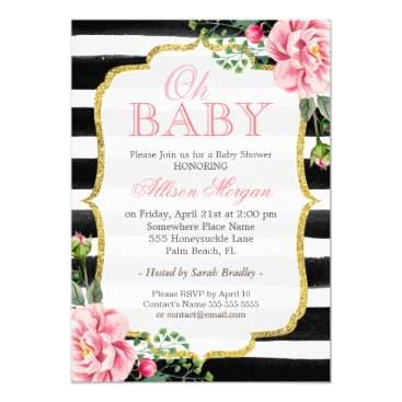 Toddler & Baby themed Oh Baby Shower Floral Gold Black White Stripes Card