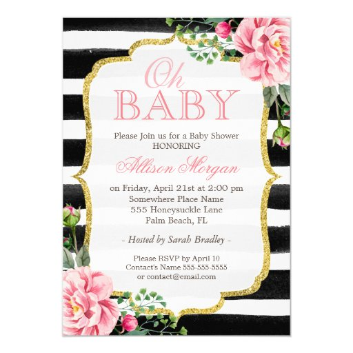 Oh Baby Shower Floral Gold Black White Stripes Card | Zazzle