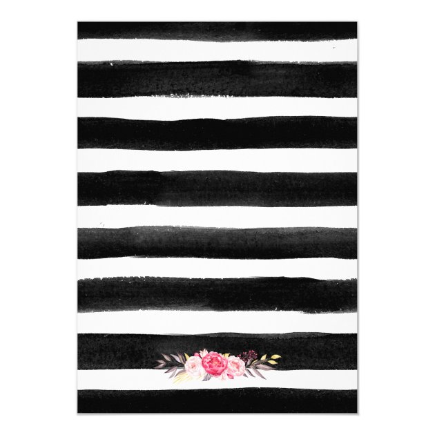 oh baby shower floral gold black white stripes card | zazzle, Baby shower invitations