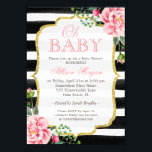 """Oh Baby Shower Floral Gold Black White Stripes Invitation<br><div class=""""desc"""">Oh Baby Shower Floral Gold Black White Stripes Invitation. (1) For further customization, please click the &quot;customize further&quot; link and use our design tool to modify this template. (2) If you prefer Thicker papers / Matte Finish, you may consider to choose the Matte Paper Type. (3) If you need help...</div>"""