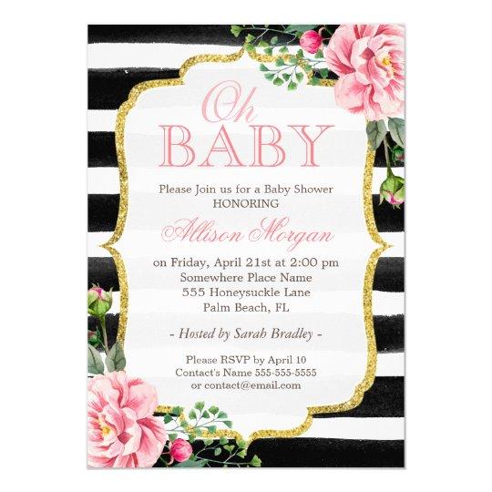 Oh Baby Shower Floral Gold Black White Stripes Invitation Zazzlecom