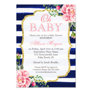 Oh Baby Shower Floral Gold Navy Blue Stripes Card