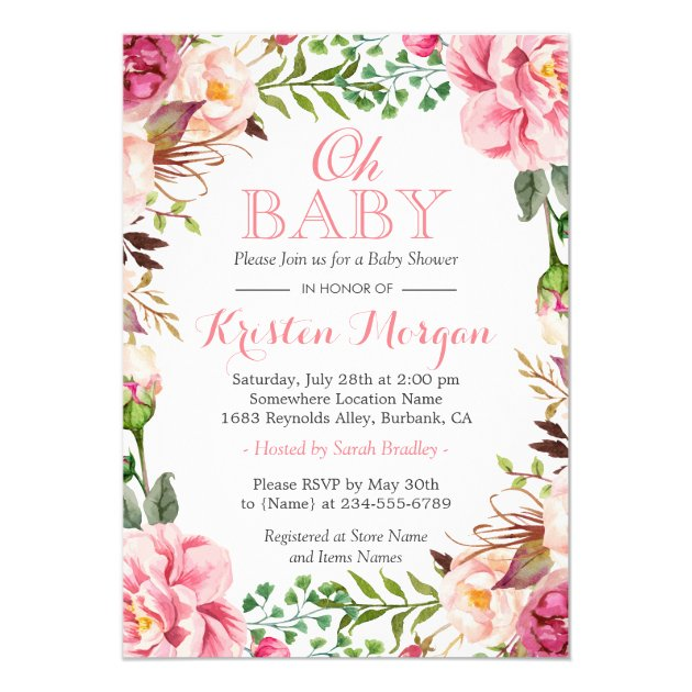 Oh Baby Shower Girly Elegant Chic Pink Flowers 5x7 Paper Invitation Card