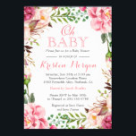 """Oh Baby Shower Girly Elegant Chic Pink Flowers Card<br><div class=""""desc"""">================= ABOUT THIS DESIGN ================= Modern Pink Floral Wrapping Invitation Suite. (1) All text style, colors, sizes can be modified to fit your needs. (2) If you need any customization or matching items, please feel free to contact me. (In case you didn&#39;t get my response, please check the email SPAM...</div>"""