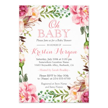 Toddler & Baby themed Oh Baby Shower Girly Elegant Chic Pink Flowers Card
