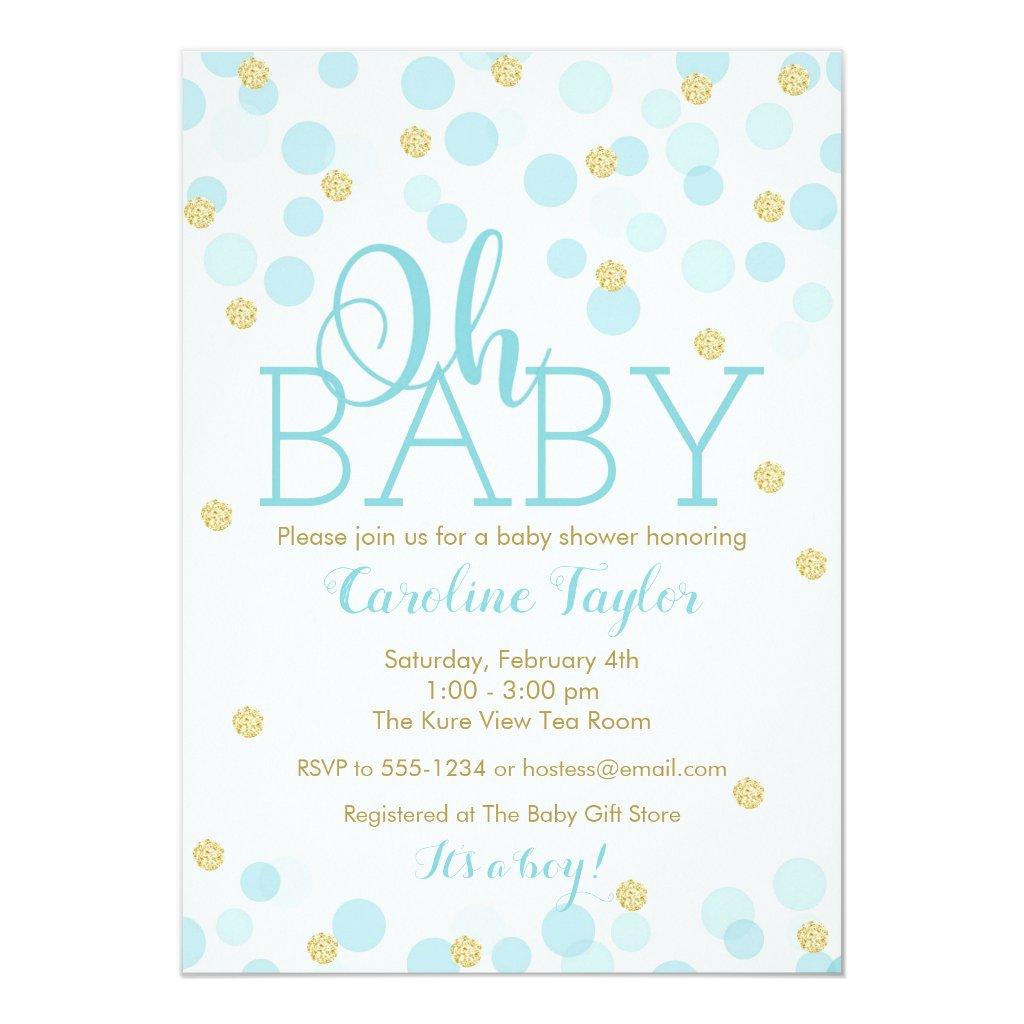 Oh Baby Shower Invitation Boy Blue Gold Glitter