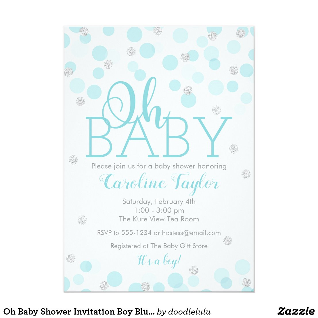 Oh Baby Shower Invitation Boy Blue Silver Glitter