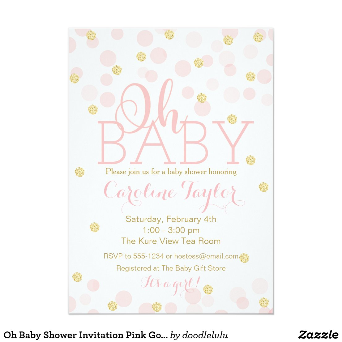 Oh Baby Shower Invitation Pink Gold Glitter