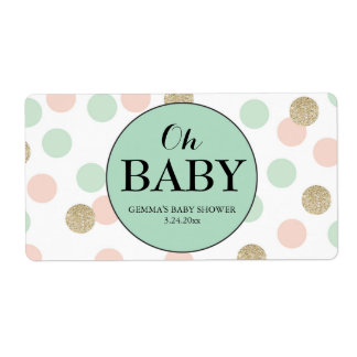 Oh Baby Shower Mini Champagne Label Gender Neutral
