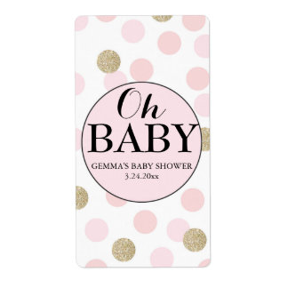 Oh Baby Shower Mini Wine Label Girl Vertical