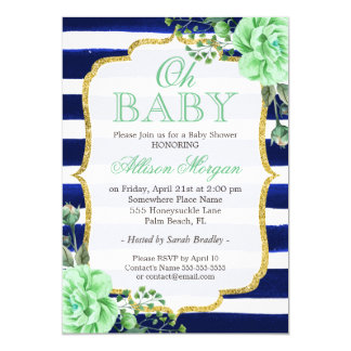 Oh Baby Shower Mint Floral Gold Navy Stripes Card