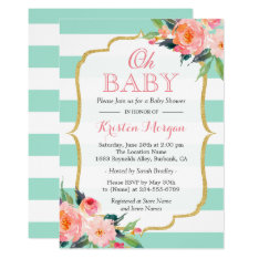 Oh Baby Shower Mint Green Stripes Pink Floral Card at Zazzle