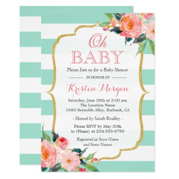 Toddler & Baby themed Oh Baby Shower Mint Green Stripes Pink Floral Card