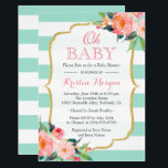 "Oh Baby Shower Mint Green Stripes Pink Floral Invitation<br><div class=""desc"">================= ABOUT THIS DESIGN ================= Oh Baby Shower Mint Green Stripes Pink Floral Invitation. (1) You are able to change the Mint stripes to Any Color by clicking the &quot;Customize it&quot; button and then setting the background color. All text style, colors, sizes can also be modified to fit your needs....</div>"