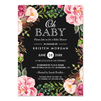 Oh Baby Shower Modern Beautiful Floral Wreath Wrap Card