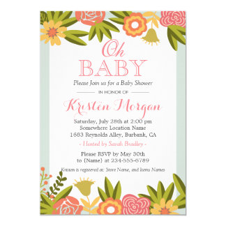 Oh Baby Shower Modern Chic Nature Flowers Card