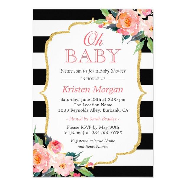 Oh Baby Shower Modern Floral Gold Frame Stripes Card (back side)