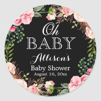 Oh Baby Shower Modern Romantic Floral Decor Classic Round Sticker