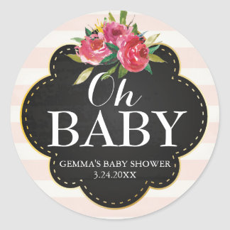 Oh Baby Shower Party Favor Sticker - Stripes