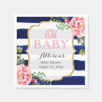 Oh Baby Shower Pink Floral Navy Blue Stripes Napkin