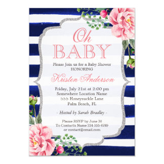 Oh Baby Shower Pink Floral Silver Navy Blue Stripe Card