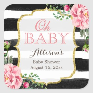 Oh Baby Shower Romantic Pink Floral Gold Stripes