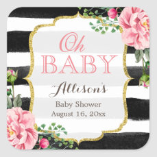 Oh Baby Shower Romantic Pink Floral Gold Stripes Square Sticker