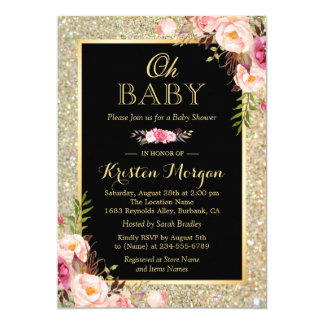 Oh Baby Shower Shiny Gold Glitter Sparkles Floral Card