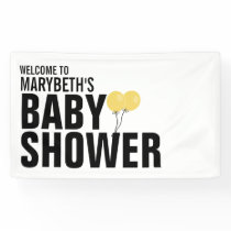Oh Baby Simple Yellow Balloon Baby Shower Banner
