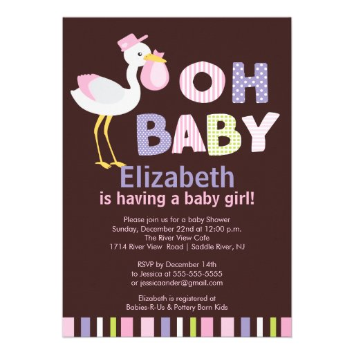 oh baby stork girl baby shower invitations zazzle