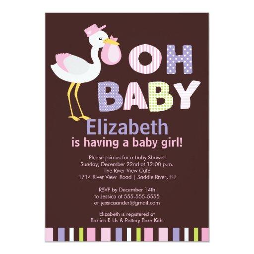 Oh Baby Stork Girl Baby Shower Invitations
