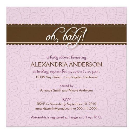 Oh, Baby! Swirly Baby Shower Invitation (lilac)
