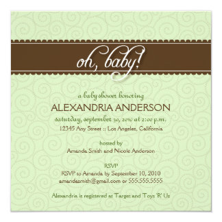 Oh, Baby! Swirly Baby Shower Invitation (mint)