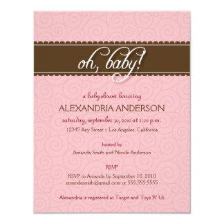 "Oh, Baby! Swirly Baby Shower Invitation (pink) 4.25"" X 5.5"" Invitation Card"