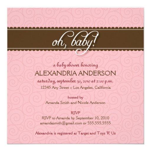 Oh, Baby! Swirly Baby Shower Invitation (pink)