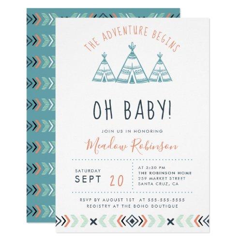 Oh Baby Tribal TeePee Adventure Begins Baby Shower Invitation