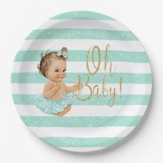Oh Baby Vintage Girl Aqua Tutu Ballerina Glitter Paper Plate