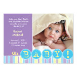 "Oh baby violet announcement 5"" x 7"" invitation card"