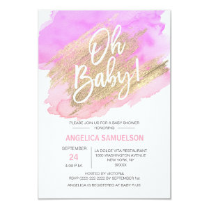 OH BABY! Watercolor Gold Pink Purple Baby Shower Invitation